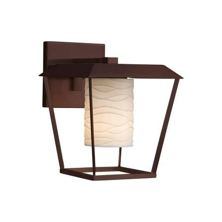 Justice Design  Group Limoges Patina 1-light Dark Bronze Outdoor Wall Sconce, Waves Cylinder - Flat Rim -