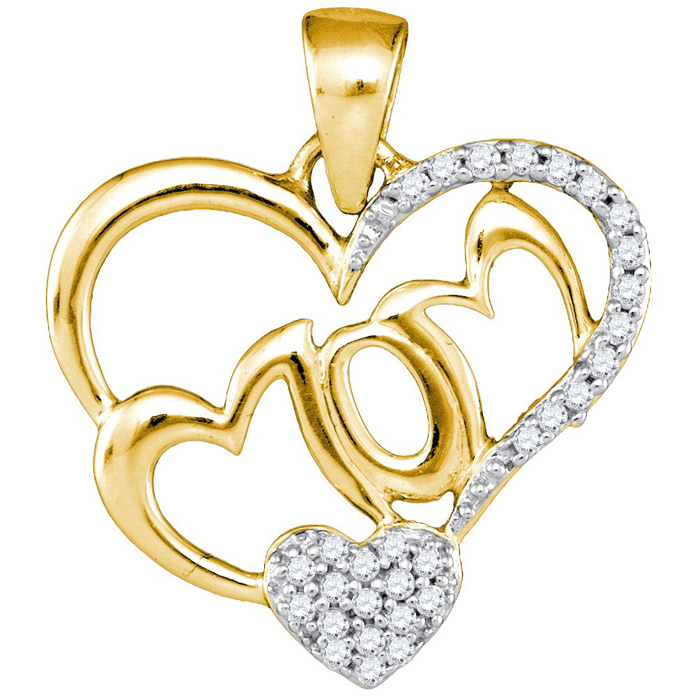 10kt Yellow Gold Womens Round Diamond Heart Love Mom Pendant 1/6 Cttw = .15 Cttw (I3 Clarity, round cut)
