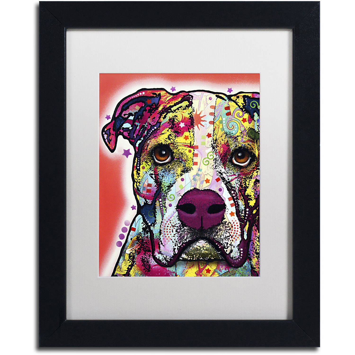 "Trademark Fine Art ""American Bulldog"" Canvas Art by Dean Russo, White Matte, Black Frame"