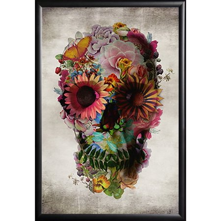 FRAMED Flower Skull by Ali Gulec 24x36 poster Dry Mounted in Real Wood Black Finish Crafted in USA - Black History Month Crafts