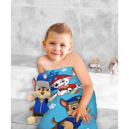 Nickelodeon PAW Patrol 2-Piece Bath Towel and Character Scrubby Set, Kids Bath Set, Chase