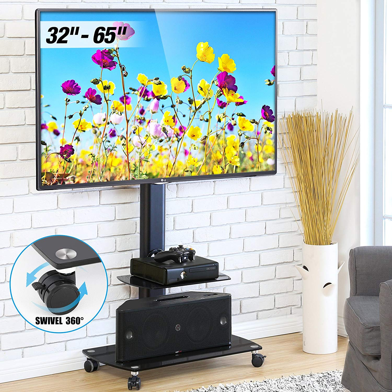 FITUEYES Floor TV Stand with Mount Rolling TV Stand Cart for up to 65 inch Universal Vizio/Sumsung/Sony Tvs Max VESA 400x600 TT206503GB