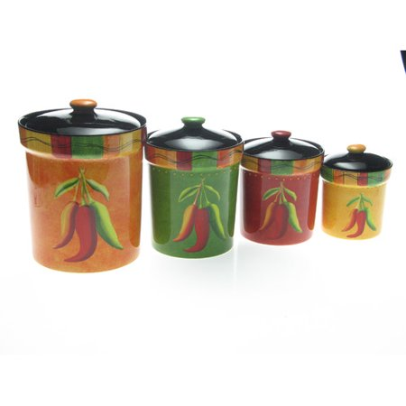 Certified International Caliente By Joy Hall 4 Piece Kitchen Canister Set