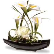 """National Tree Artificial 11"""" White Rose and Calla Lily Flowers"""