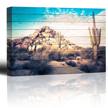 Landscape Boulder - wall26 - Painted Desert Scene on Wood Grain Background - Rustic Sagebrush Cactus boulders - Blue Sky Over Rural Landscape - Canvas Art Home Decor - 12x18 inches