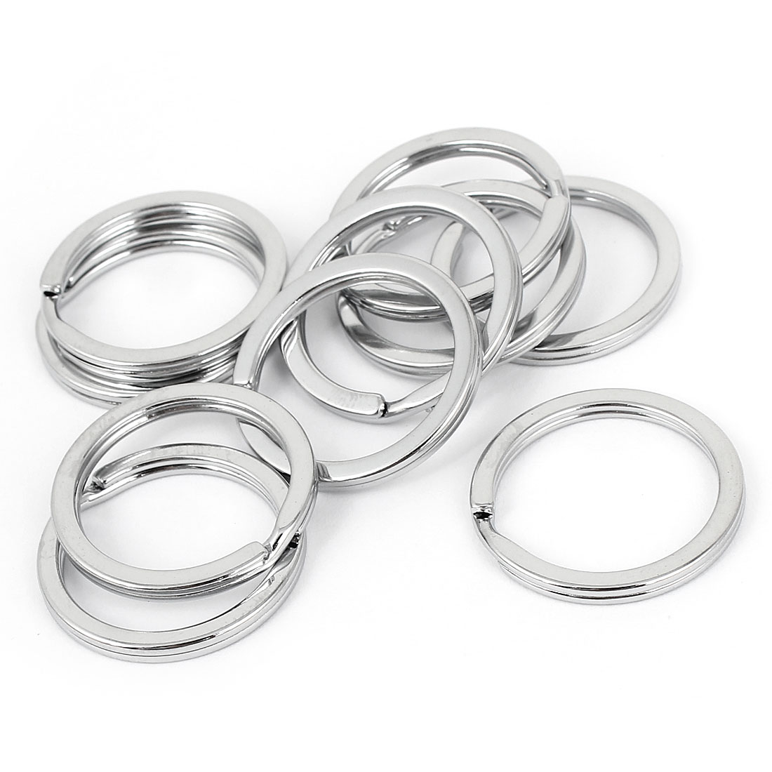 "Unique Bargains Household Silver Tone Metal 1"" Dia Ring Hanging Keyring Key Chain Holder 10pcs"