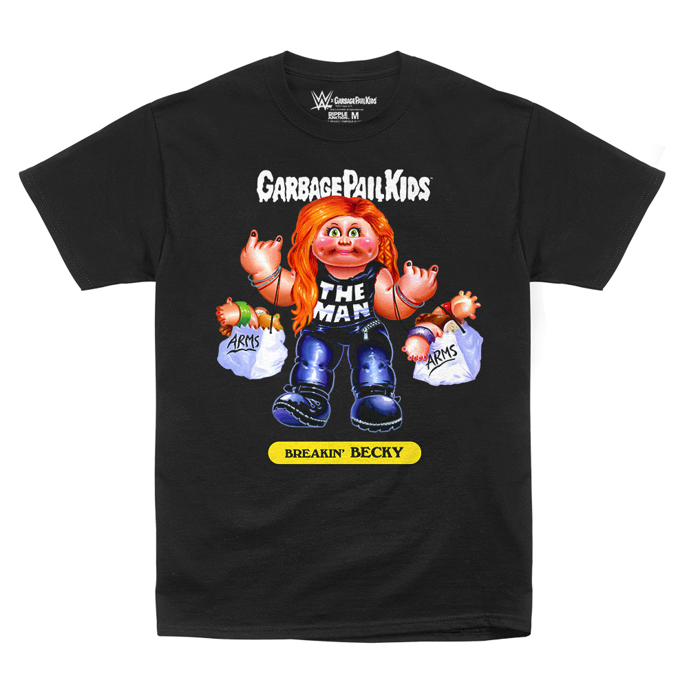 """Official Wwe Authentic Becky Lynch """"Breakin Becky"""" Garbage Pail Kids T-Shirt Black Small"""