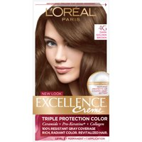L'Oreal Paris Excellence Creme Permanent Triple Protection Hair Color, 4G Dark Golden Brown, 1 kit