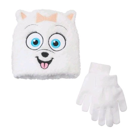 Secret Life of Pets Girls Gidget Dog White Beanie Stocking Hat & Gloves Set](Long Stocking Hat)