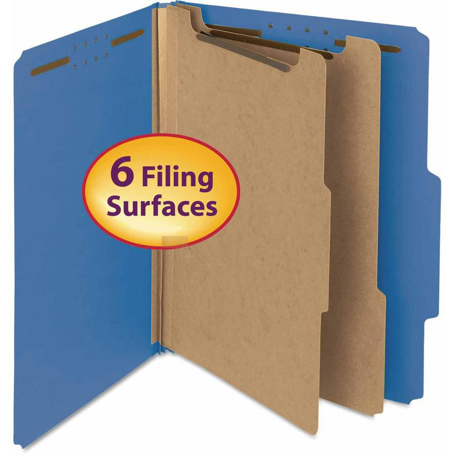 "Smead Pressboard Classification Folder, 2"" Expansion, 2 dividers, Letter, Dark Blue, 10/BX"