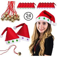 Tigerdoe Christmas Bulk 24 Pc Set w/Santa Hats and Necklaces Deals