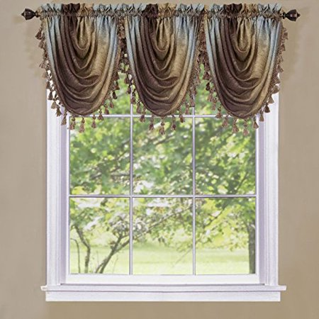 Park Avenue Collection Ombre Waterfall Valance - Chocolate