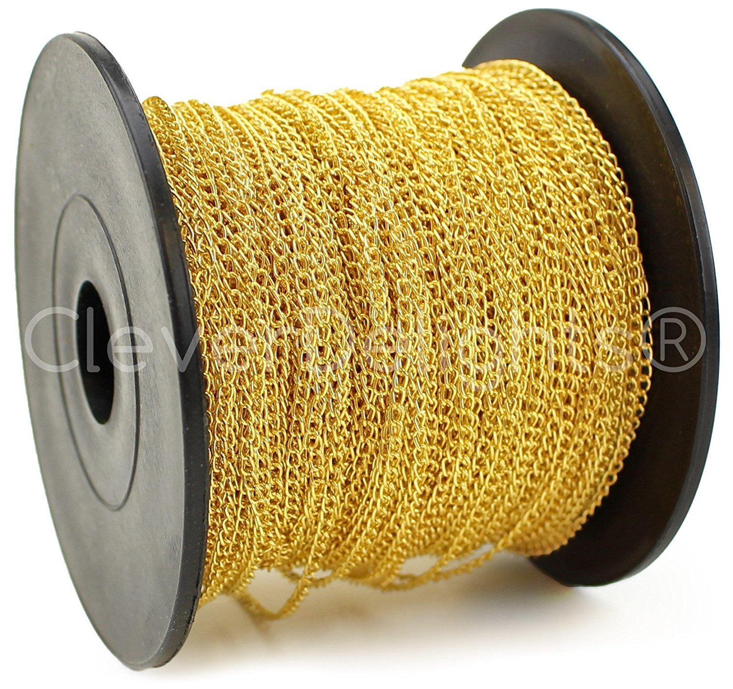 CleverDelights Curb Chain Spool - 2x3mm Link - Gold Color - 330 Feet