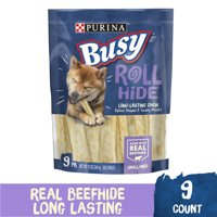Purina Busy Rawhide Small/Medium Breed Dog Bones, Rollhide, 9 ct. Pouch