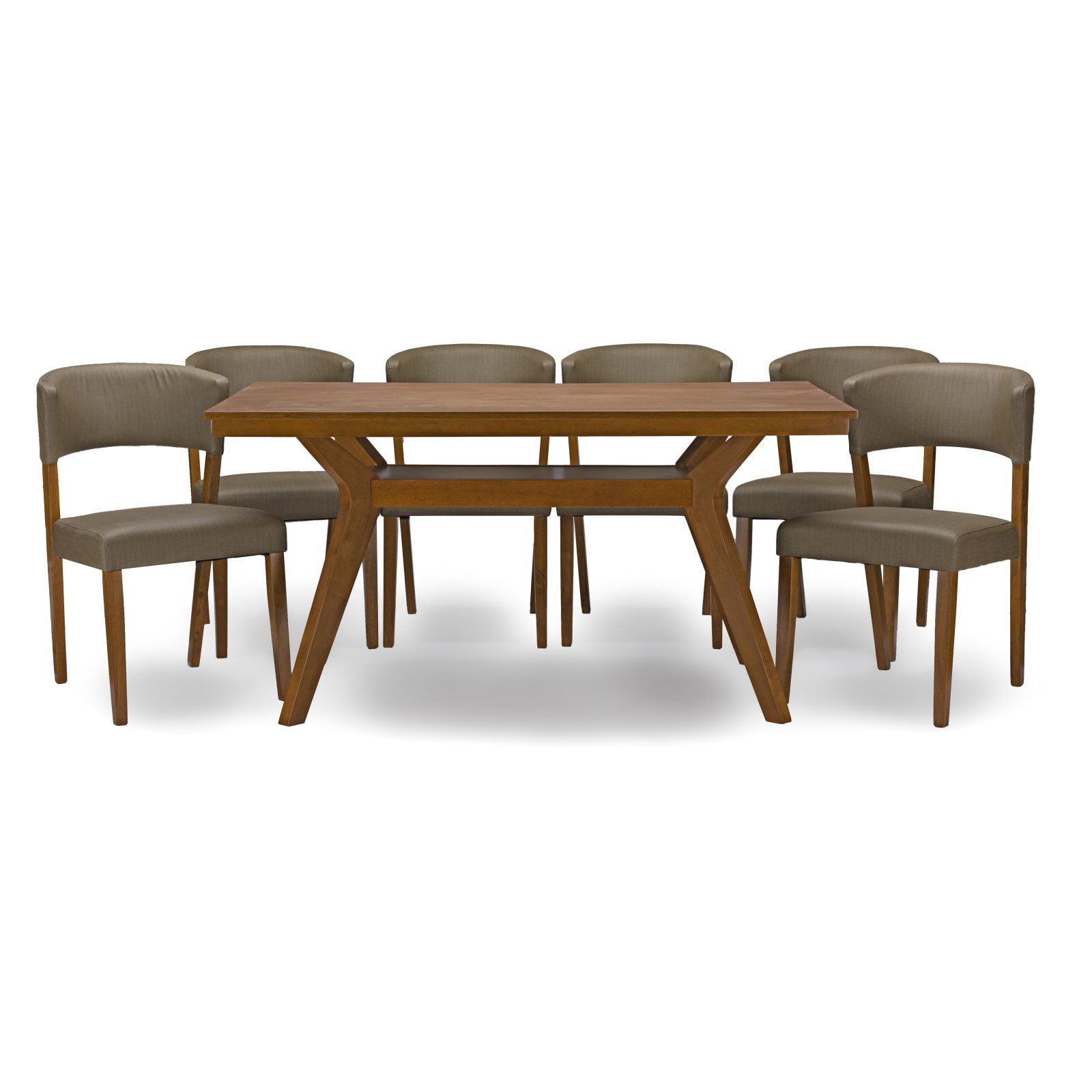 Baxton Studio Montreal 7 Piece Rectangular Dining Table Set