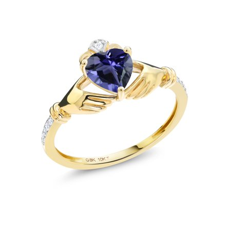 0.64 Ct Heart Shape Blue Iolite Diamond Accent 10K Yellow Gold Ring