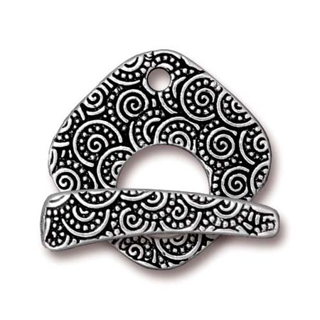 Antiqued Silver Plated Pewter Large Spiral Square Toggle Clasp Set 22mm (1) (Square Toggle Clasp)