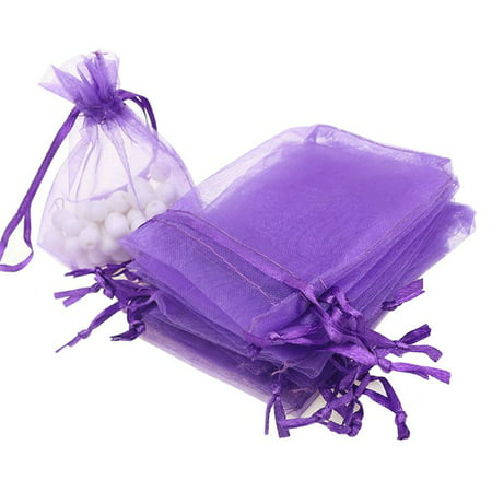 100Pcs Mini Gift Bags Pouches Organza Jewelry Drawstring Bags For Wedding/Party