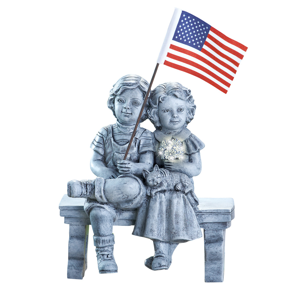 Kids on Bench Patriotic Outdoor Lawn Ornament Garden Statue Yard Decoration by Collections Etc