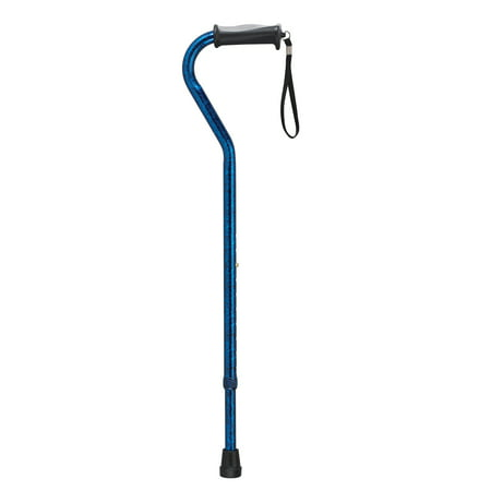 Drive Medical Adjustable Height Offset Handle Cane With Gel Hand Grip  Blue Crackle