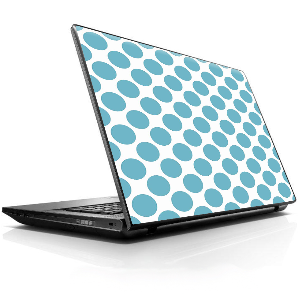 "Laptop Notebook Universal Skin Decal Fits 13.3"" To 16"" / Teal Blue Polka Dots"
