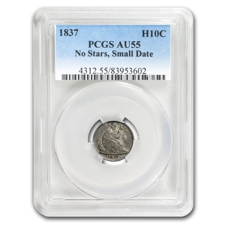 1837 Liberty Seated Half Dime No Stars, Small Date AU-55 PCGS (Small Silver Coin)
