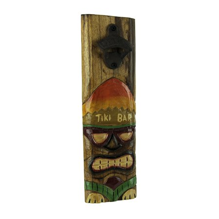 Things2die4 - Tiki Mask Wood Plaque Wall Mounted Bottle Opener - Brown - Volcano