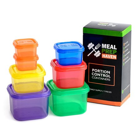 (Meal Prep Haven 7 Piece Multi-Colored, Color Coded Portion Control Container Kit)