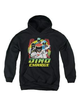 Mighty Morphin Power Rangers Dino Lightning Big Boys Youth Pullover Hoodie BLACK