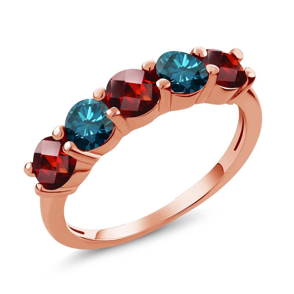 1.05 Ct Round Checkerboard Red Garnet Blue Diamond 14K Rose Gold Wedding Band Ring