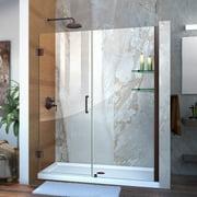 DreamLine Unidoor 60-61 in. W x 72 in. H Frameless Hinged Shower Door with Shelves in Oil Rubbed Bronze