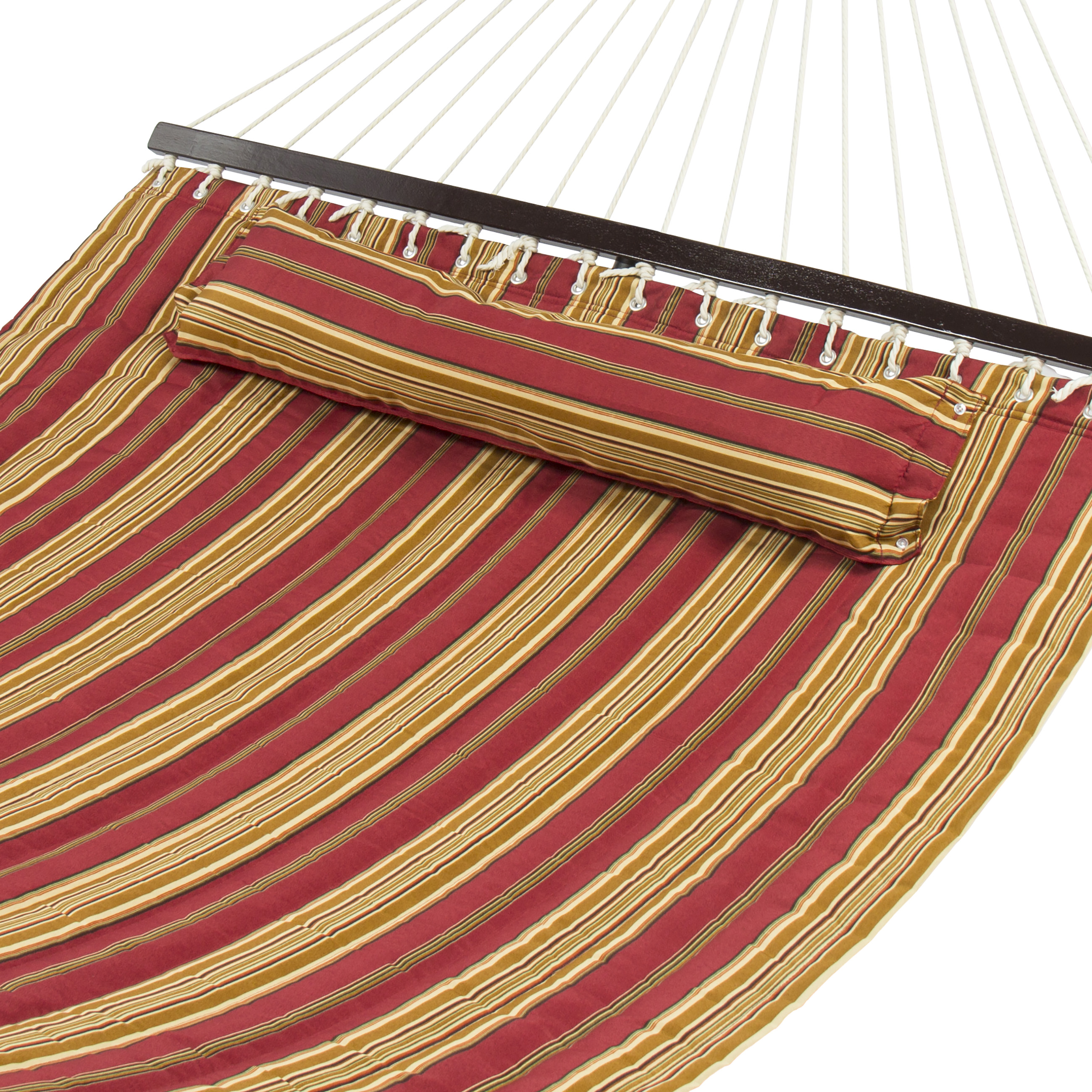 Best Choice Products Quilted Double Hammock w  Detachable Pillow, Spreader Bar Burgundy and Tan Stripe by