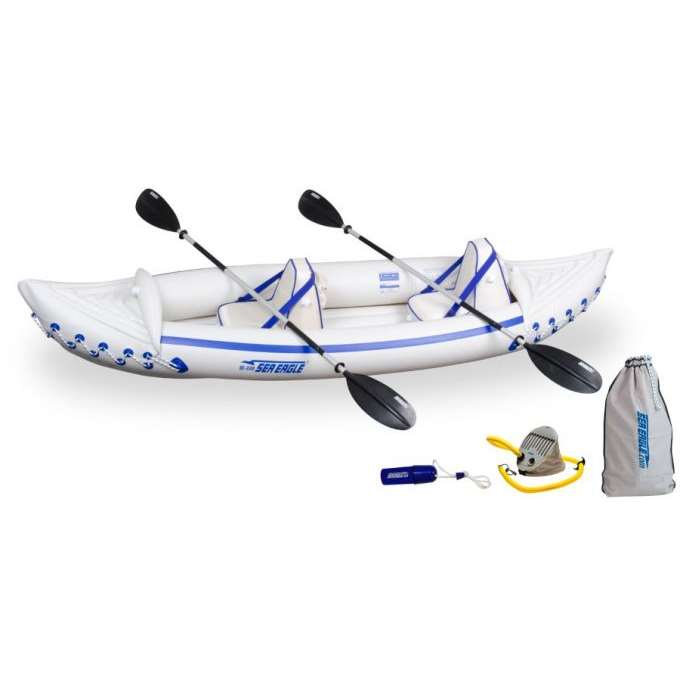 SEA EAGLE 330 Professional 2 Person Inflatable Sport Kayak Canoe Boat w/ Paddles