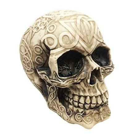 Celtic Tribal Tattoo Homosapien Cream Skull Ossuary Figurine Statue Skeleton