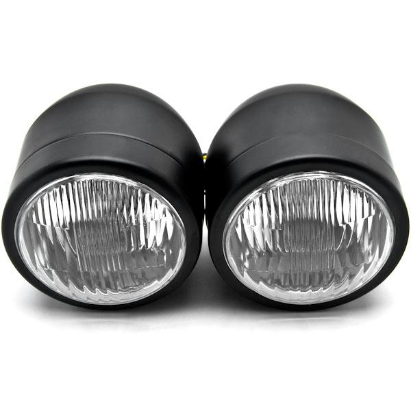 Black Twin Headlight Motorcycle Double Dual Lamp For Suzuki Boulevard C109R C50 C90 - image 2 de 6