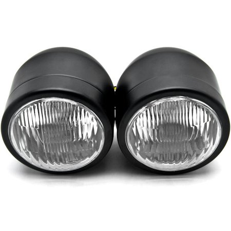 Black Twin Headlight Motorcycle Double Dual Lamp Compatible with Victory Cross Country - image 3 de 6