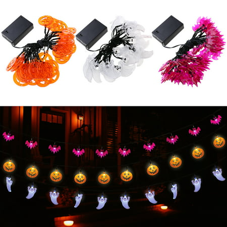 Led Ghost (YUNLIGHTS 3.5M 30 LED Hallowen Pumpkin Bat Ghost String Lights Battery-powered Decoration Lights for Indoor/Outdoor Halloween Party)