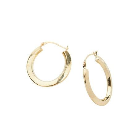 14k Gold Knife-Edge Oval Hoop Earrings