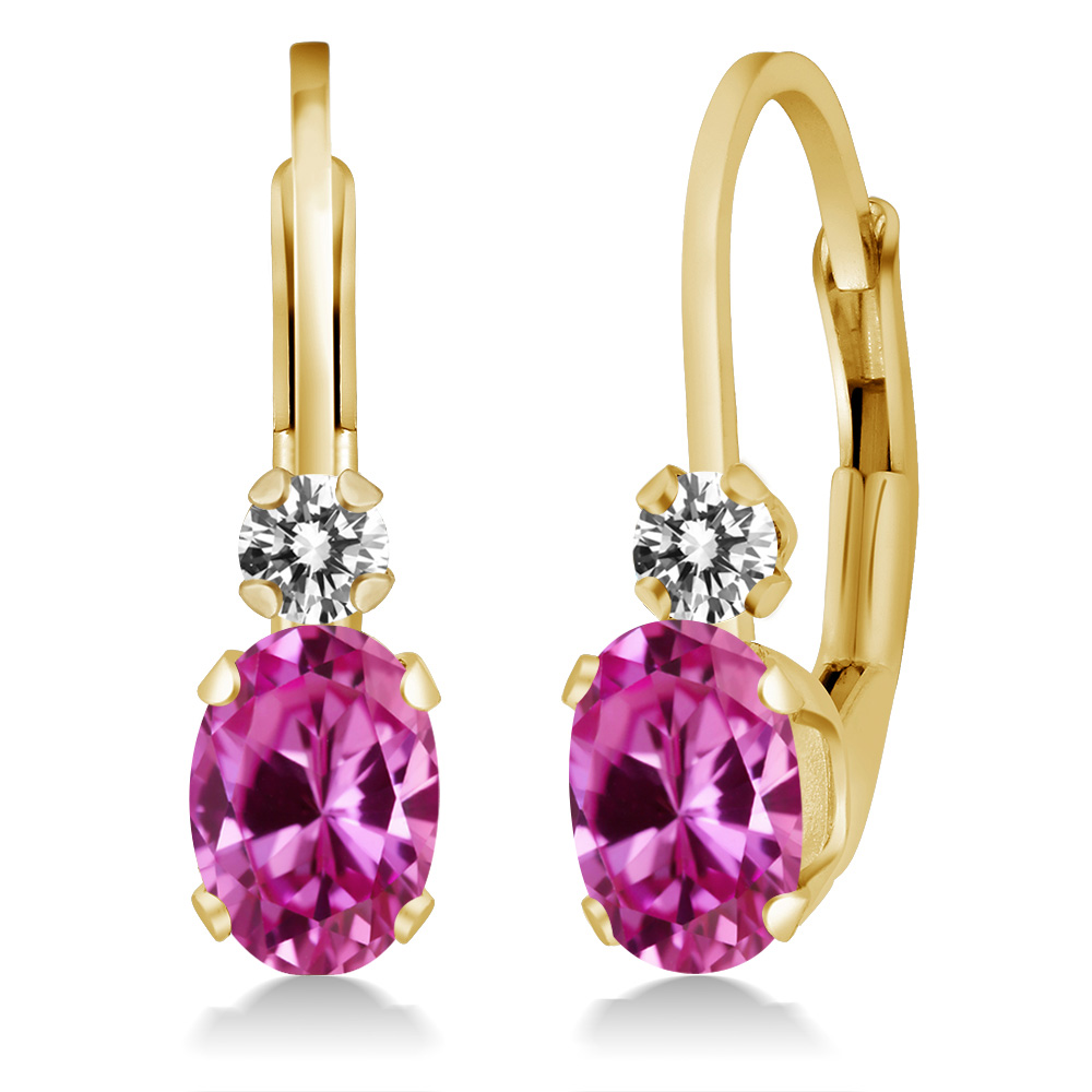 1.27 Ct Oval Pink Created Sapphire White Diamond 14K Yellow Gold Earrings by