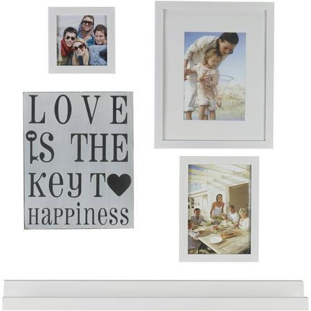 Melannco 5 Piece White Picture Frame And Ledge Set