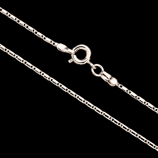 Lock Chain Necklace With Springring Clasp 24Inch Silver Plated Brass 1.5mm Chain Width 1pcs/pack (3-Chain Value Bundle), SAVE $2
