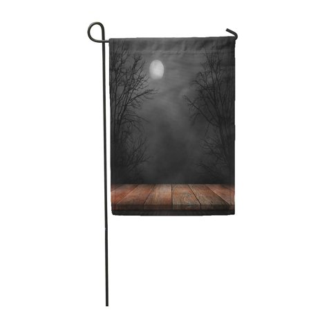 LADDKE Forest Old Wood Table and Silhouette Dead Tree at Night for Halloween Creepy Garden Flag Decorative Flag House Banner 12x18 inch](Halloween Dead Tree Silhouette)