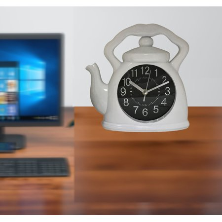 Kitchen, shop, room, office clock with White Kettle Clock;Product Size: 9.5x9.25x1.5. Cute kettle design. Hanging or sitting on any desk top. Tell