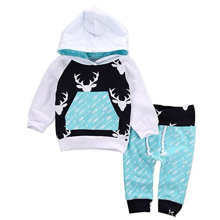 Toddler Infant Baby Boys Deer Long Sleeve Hoodie Tops Sweatsuit Pants Outfit (Infant Baby Boys Long Sleeved)