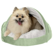 FurHaven Pet Dog Bed | Orthopedic Microvelvet Snuggery Burrow Pet Bed for Dogs & Cats, Sage, 18-Inch