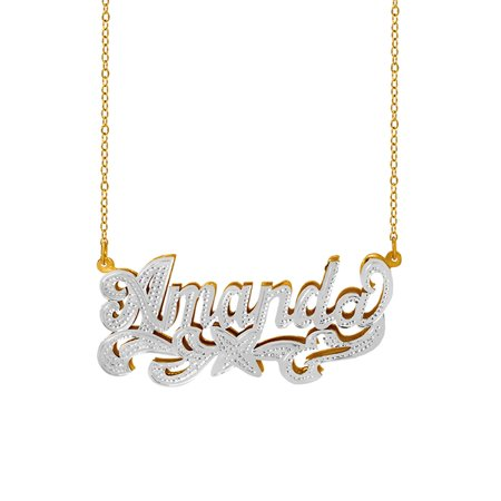 ee6321705cd28 Personalized Sterling Silver or 14K Gold Plated Double Name Necklace  w/Beading and Rhodium on Name and Tail 18