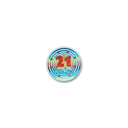 Beistle BN079 21 & Terrific Satin Button, Pack Of 6