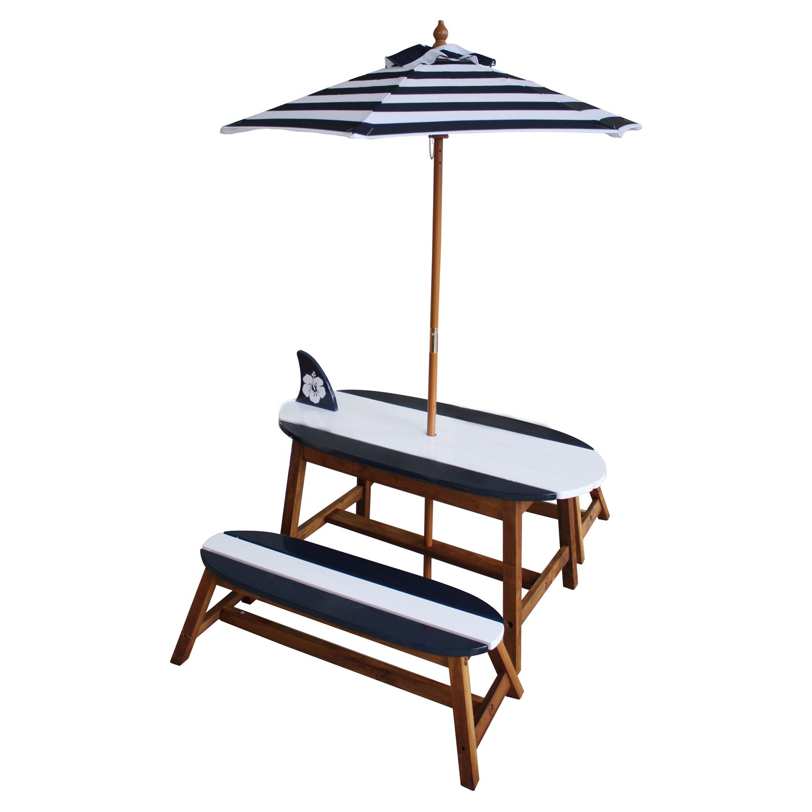 Teamson Kids Surfboard Outdoor Table And Bench Set With Umbrella