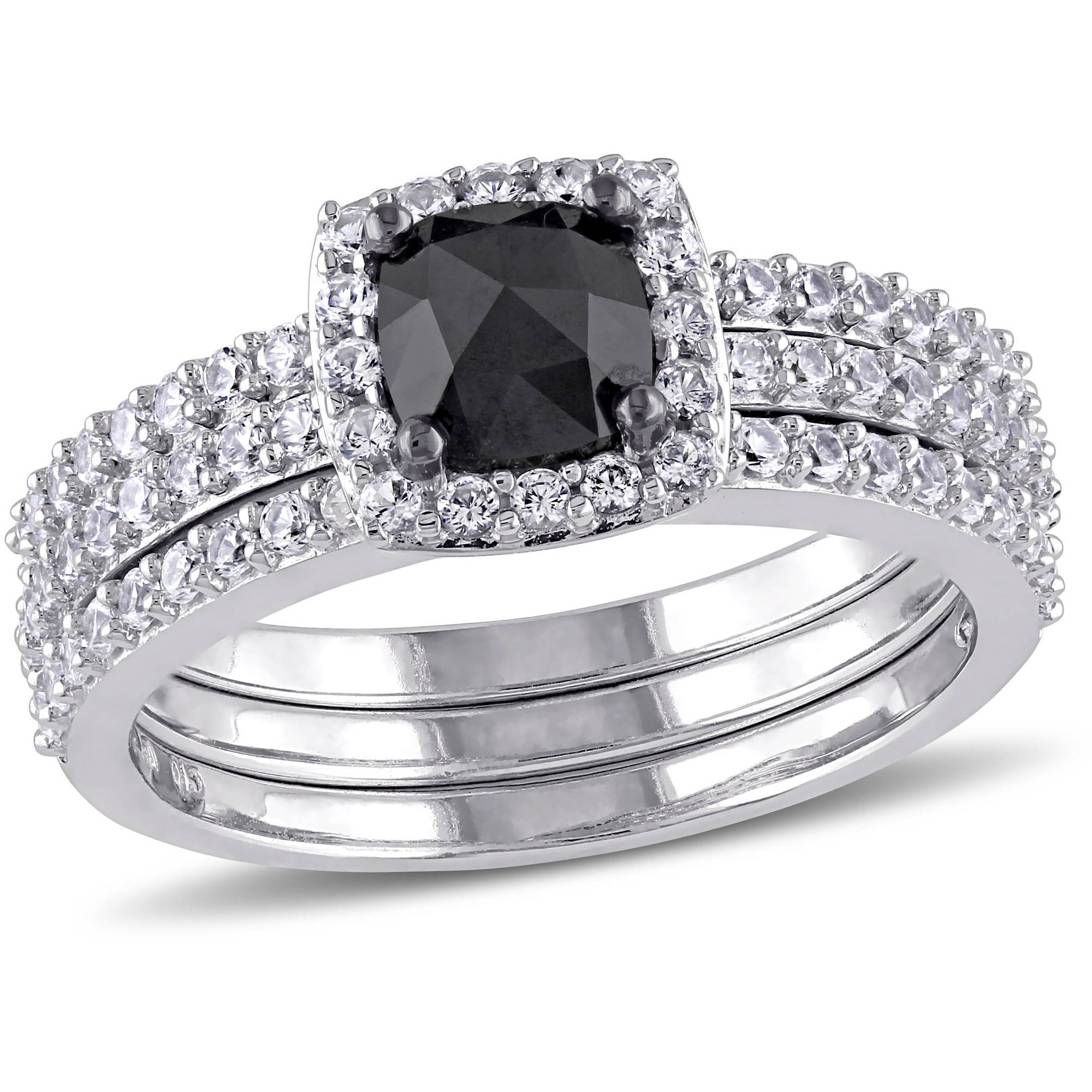 4 5 Carat T.G.W. Created White Sapphire and 3 4 Carat T.W. Black Diamond 10kt White Gold Halo Bridal Set by Generic