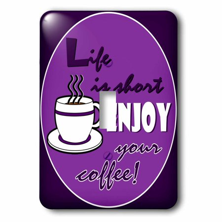 3dRose Coffee Lover Gift - Life is Short Enjoy Your Coffee - Purple, 2 Plug Outlet Cover